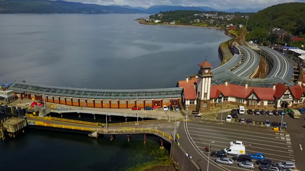 A great set of screenshots taken from the Wemyss Bay Station video by 'All The Stations'. They used a drone to film footage above the station. Check out their YouTube page. Photos used with permission of 'All The Stations'.