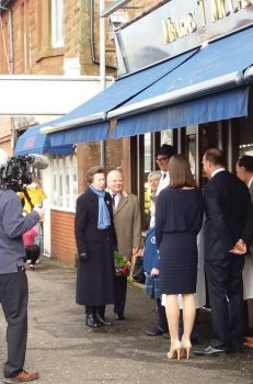 Princess Anne visiting Mearns T. McCaskie (courtesy of Brenda Campbell)
